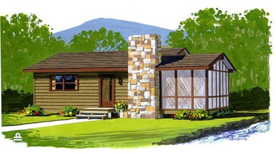 Plano de casa de 68 metros cuadrados - 1 piso - Estilo rural