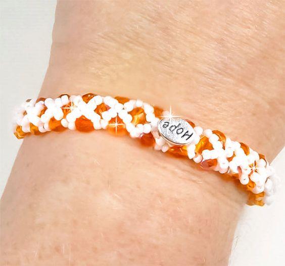 Multiple Sclerosis Awareness Bracelet Orange by PixieDustFineries