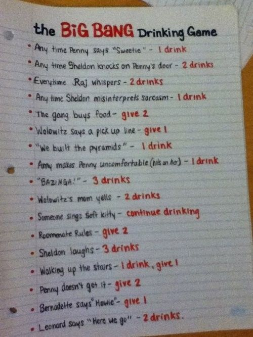 Big Bang drinking game... for the underage, it is the grape-juice drinking game...