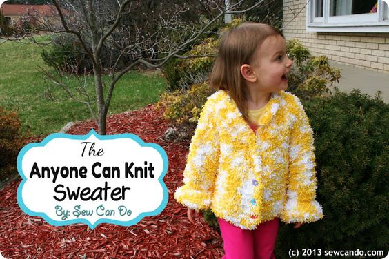 Knit a sweater without a pattern and just a basic garter stitch (no increasing or reducing!).  See the how-to at Sewcando.com