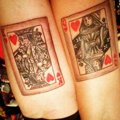 Matching couples tattoo King and Queen of hearts