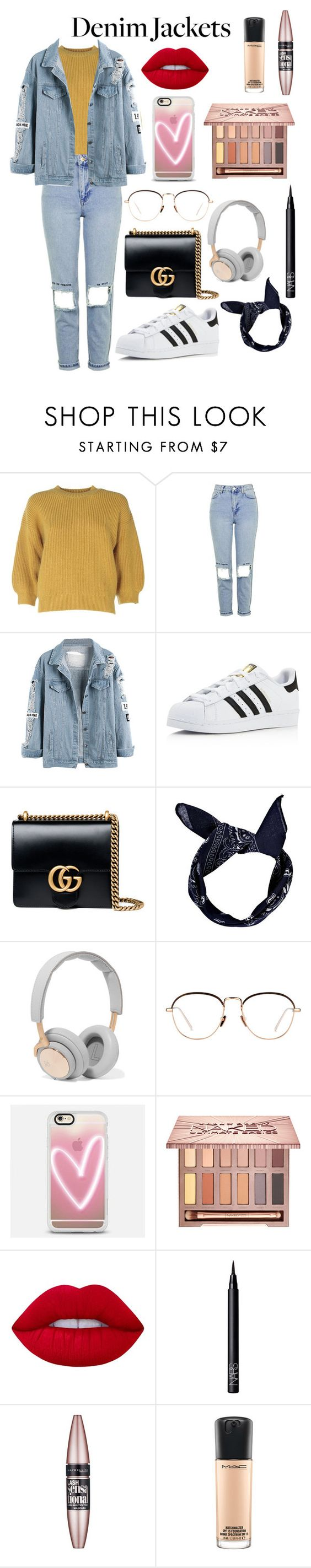 """""""Denim jackets"""" by nanna1308 ❤ liked on Polyvore featuring 3.1 Phillip Lim, Topshop, adidas, Gucci, Boohoo, B&O Play, Linda Farrow, Casetify, Urban Decay and Lime Crime"""
