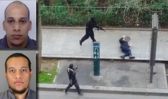 In this photo combination: (L), Two undated handout pictures released by French Police in Paris early January 8, 2015 show Cherif Kouachi, 32, (top left) and his brother Said Kouachi, 34, (bottom left) suspected in connection with the shooting attack at the satirical French magazine Charlie Hebdo headquarters in Paris, France, January, 8 2015. (R)