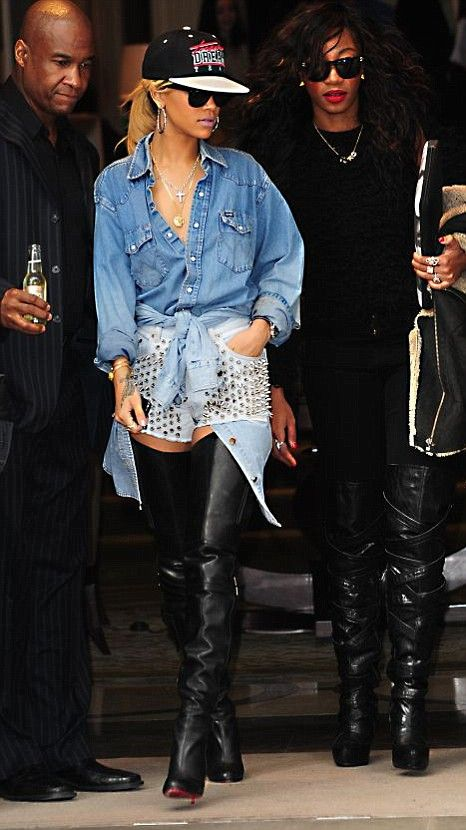 rihanna denim top white studded shorts thigh high