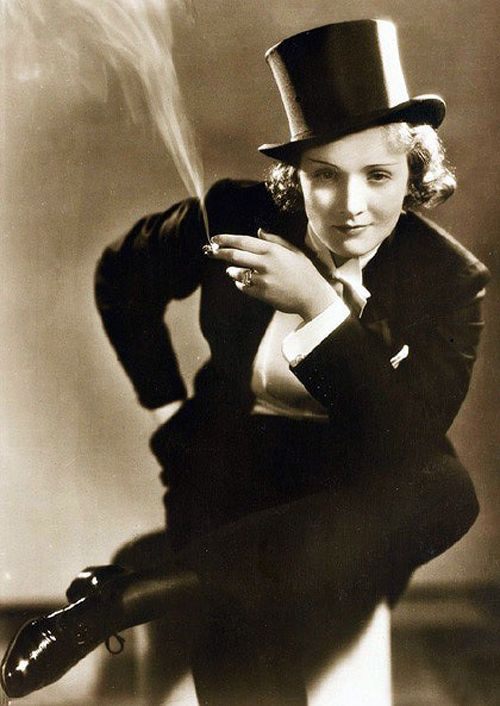 Marlene Dietrich, 20th century film and fashion icon most famously known for her provocative, often-times androgynous film roles. She remained enormously popular throughout her long career by continually re-inventing herself.: