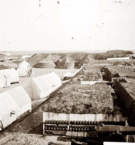 Charleston, South Carolina (vicinity). Interior view of Fort Wagner, showing quarters of Federal garrison. (Morris Island)