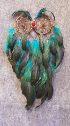 CH053 Teal & Black Feathers Owl Dream Catcher