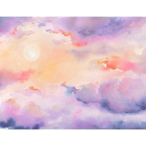 Sunrise Watercolor Nature Art Watercolor Paintings Painting
