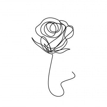 Flower Continuous One Line Art Drawing Vector Illustration Awesome Rose Isolated On White Background Roses Clipart Flower Nature Png And Vector With Transpa In 2021 Line Art Flowers Line Art Drawings