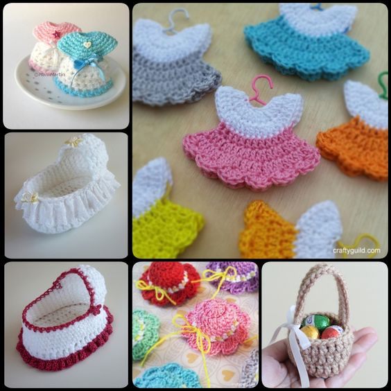 this post shows you how to crochet mini baby shower favors with free