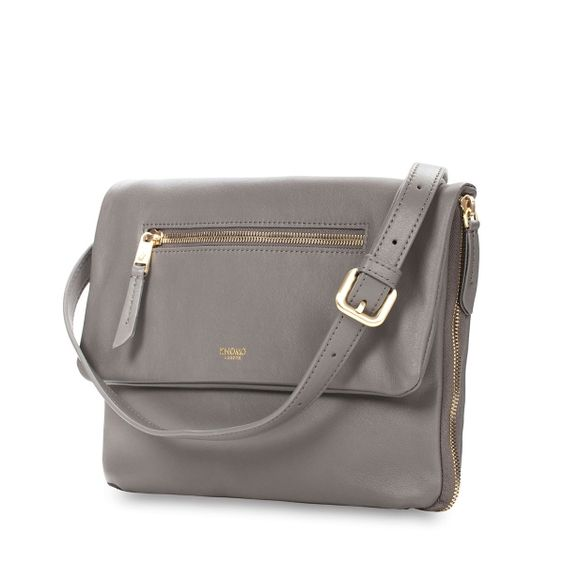 Elektronista Digital Clutch Bag in grey from KNOMO: Official Store |Grey leather Women's Shoulder Bag | Full Grain leather | Ladies Handbags | Designed by KNOMO London