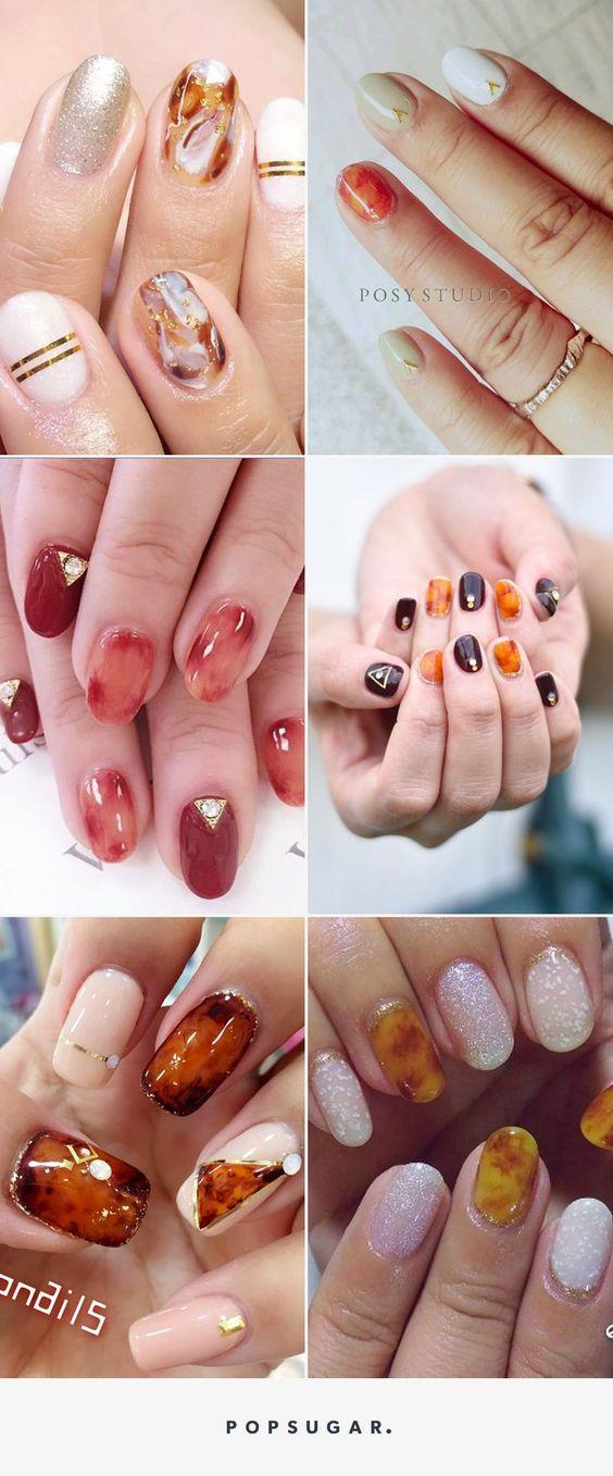 Donnez un Look Automnal à Vos Ongles Avec ces Manucures Ambrées