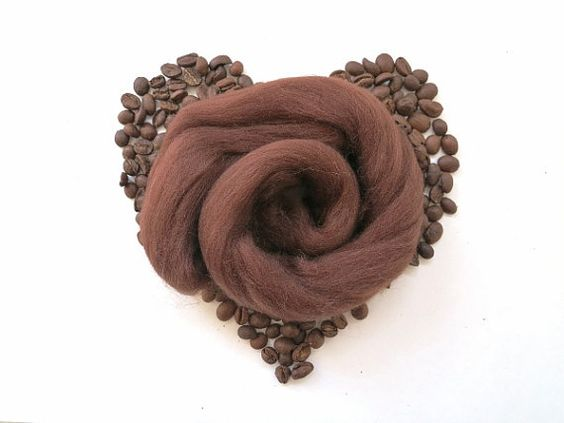 Brown Merino Wool Roving wet felting wool wet by FeltEvolution