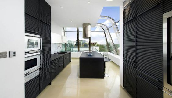 Kitchen Design from a Penthouse Apartment in London designed by Studio RHE | #InteriorDesign #Kitchen |
