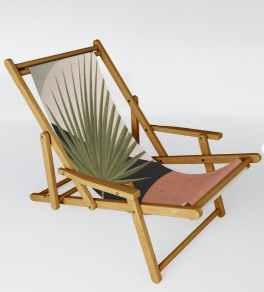 Tropical Leaf Abstract Art 5 In 2020 Sling Chair Chair Tropical Leaves