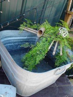 Galvanized Garden Tub With Bamboo Water Fountain Garden