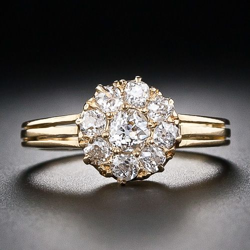 A low-profile cluster ring ca 1887, and in my current fave yellow gold to boot!