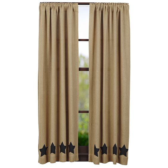 "Burlap Natural Black Stencil Star Short Curtain Panels 63"" x 36"""