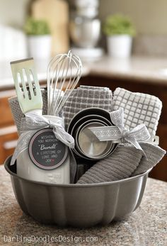 Do it Yourself Gift Basket Ideas for all Occassions - Use a Bundt Pan as the Gift basket and fill it with fun little baking doo dads via Darling Doodles: