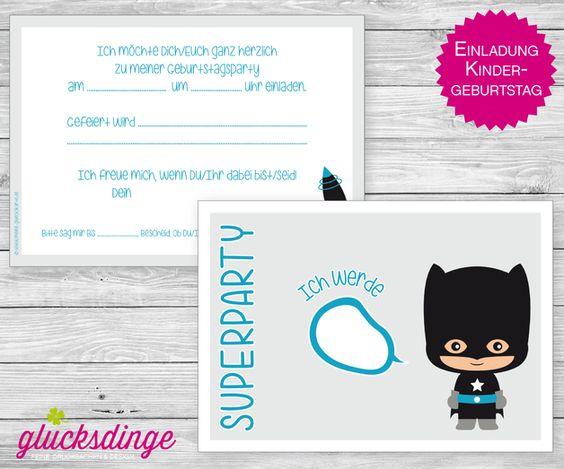Einladungskarten - 6 x Einladung ♥ KINDERGEBURTSTAG ♥ Superheld 2 - ein Designerstück von gluecksdinge bei DaWanda