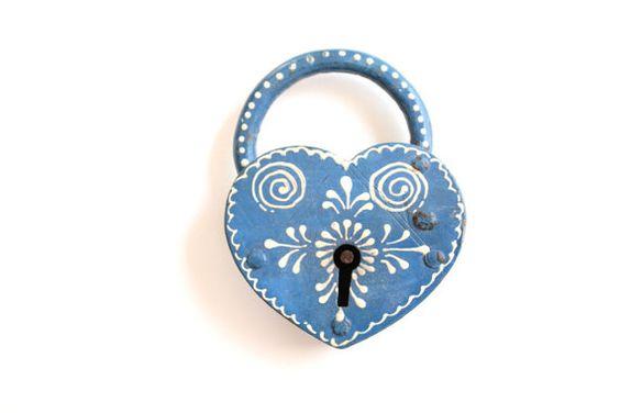 Heart Lock & Key  something blue vintage wedding by TheLonelyHeart