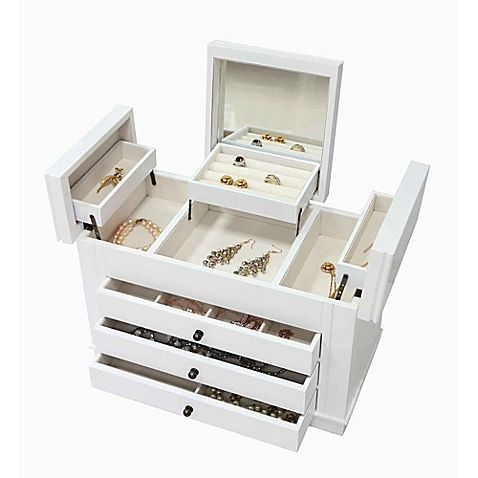 Modern 3 Drawer 1 Compartment Jewelry Box In White White Jewelry Box Wooden Jewelry Wooden Jewelry Boxes