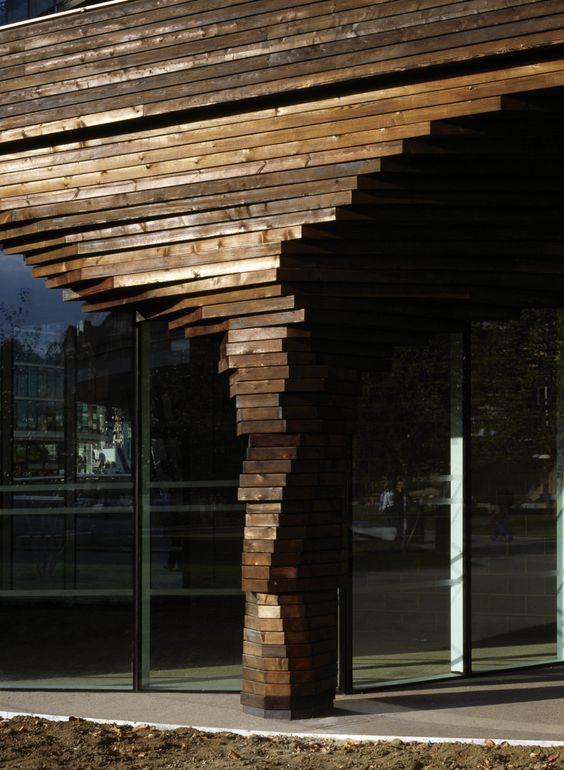 Parkside Pavilion showing charred timber column