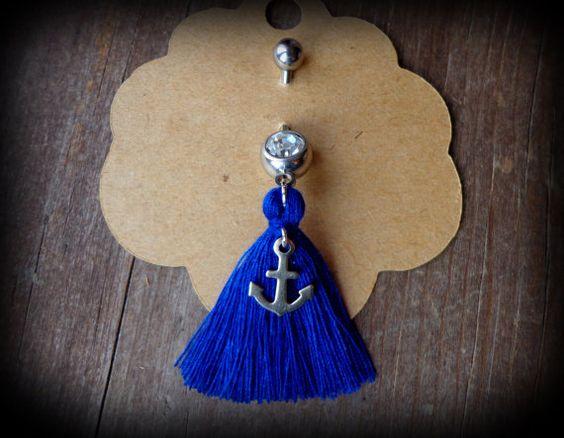 ancre du ventre bague bijoux de nombril ventre bleu par anainc