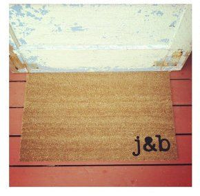 YOUR Custom Initials - Where You Hang Your Hat Doormat - Natural CoCo Fiber Modern Tagged Outdoor 60% Recycled Welcome Mat. $38.00, via Etsy.