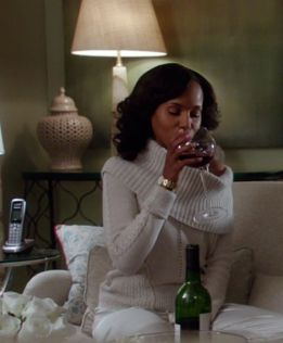 Olivia Pope Her White Couch Cream Style And Off The Shoulder Sweater Paired With A Glass Of Red Scandal Oli Olivia Pope Style Scandal Fashion Olivia Pope