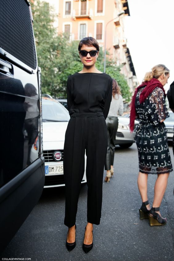 MFW-Milan_Fashion_Week_Spring_Summer_2014-Street_Style-Say_Cheese-Collage_Vintage-Black_Jumpsuit-Prada_Spring_Summer-14.jpg (790×1185)