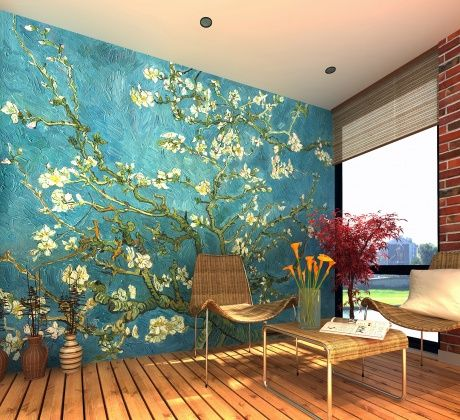 """Van Gogh's """"Almond Blossoms"""" is stunning as a mural!!"""