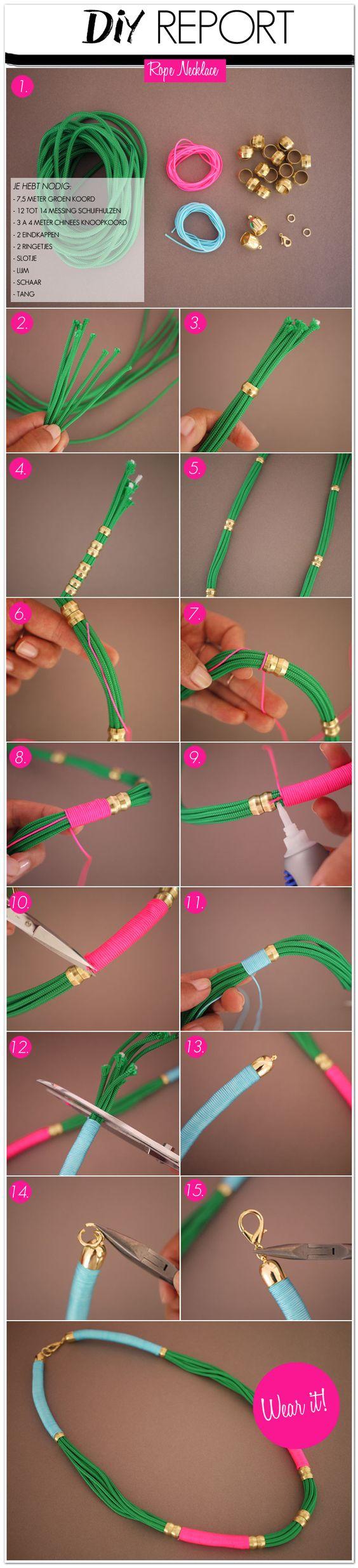 Al een tijdje opzoek naar een leuke statement ketting, maar nog niets gevonden? Dan hebben wij de juiste DIY voor jou! Hieronder laten wij jou zien, hoe jij jouw eigen rope necklace kan maken. Een ketting, die je super kleurrijk en vrolijk kunt maken door simpelweg het wikkelen van touw om ander touw. Super makkelijk! Bron: Honestly WTF 1. Wat heb je allemaal nodig voor deze rope necklace? - 7,5 Meter groen koord. Of een andere kleur, die je leuk…