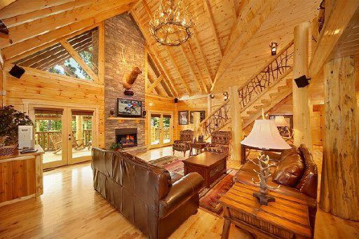 A wood-covered great room in Gatlinburg, Tennessee