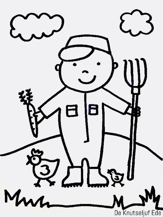 De boer, boerin, schaap, varken, koe en kip - op de boerderij | Kleurplaat kleurplaten Boerderij-boer | Boerin Dieren tekening-knippen | Plakken Knutselen Boerderijdieren-kids