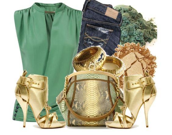 jeans e dourado