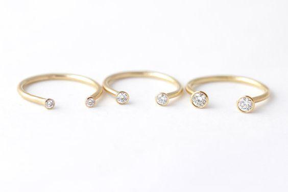 Anneau de Pierre double bague de mariage diamant par artemer