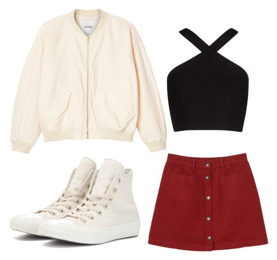 """Morning"" by i-dont-want-to-go ❤ liked on Polyvore featuring Monki, BCBGMAXAZRIA and Converse"