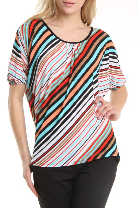 Carol Rose Diagonal Stripe Dolman Sleeve Top