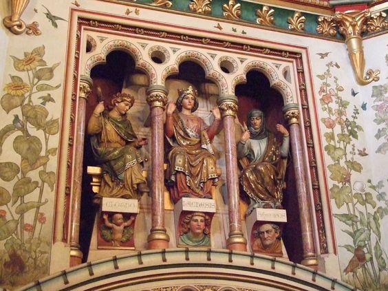 3 moirai (Clotho, Lachesis, Athropos); Castle Coch, Cardiff, Wales
