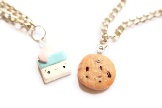 Best Friend Cookies and Milk Necklace Set Cute by LaPetiteCharms