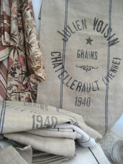 old french grain sacks: