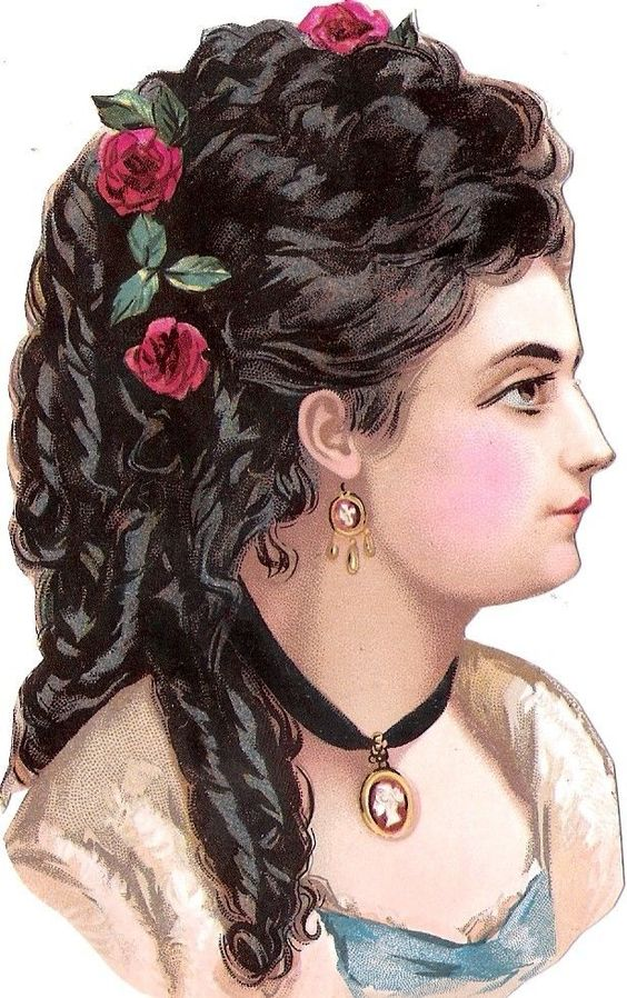 Oblaten Glanzbild scrap die cut chromo Dame 13cm lady femme buste girl head Frau: