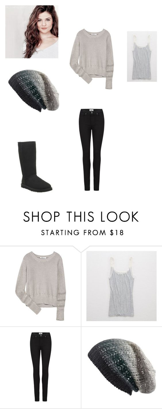 """Untitled #160"" by girlwhosparkles ❤ liked on Polyvore featuring T By Alexander Wang, Aerie, Paige Denim, Michael Stars and UGG Australia"