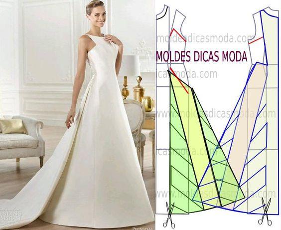 Passo a passo molde vestido de noiva. Porque se trata de uma cerimфnia com importвncia marcante na vida de uma mulher escolha um modelo belo e elegante.: