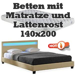 Hier die gerade sehr beliebten Topseller unter den Betten mit Matratze und Lattenrost 140x200 im Maß!