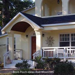 Porch roof ideas and designs. Gable and shed roof design over front porch.
