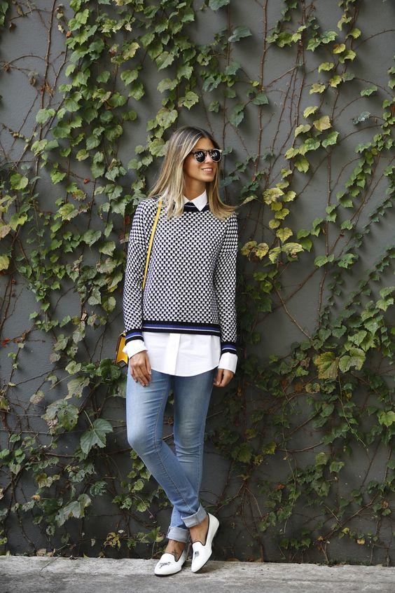 jeans, sapatilha, camisa e malha. Adorei esta produção confortável e estilosa da blogueira Anna Fasano: