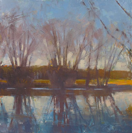 "Frank Hobbs: ""Autumn River, Late in the Day,"" oil on canvas, 36 x 36 in.  Reynolds Gallery, Richmond, VA"