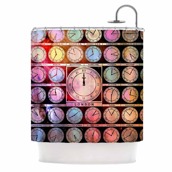 """Suzanne Carter """"Time Space"""" Rainbow Black Shower Curtain"""